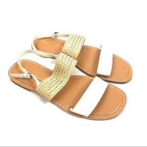 Gap 2 band leather woven flat ankle strap sandals